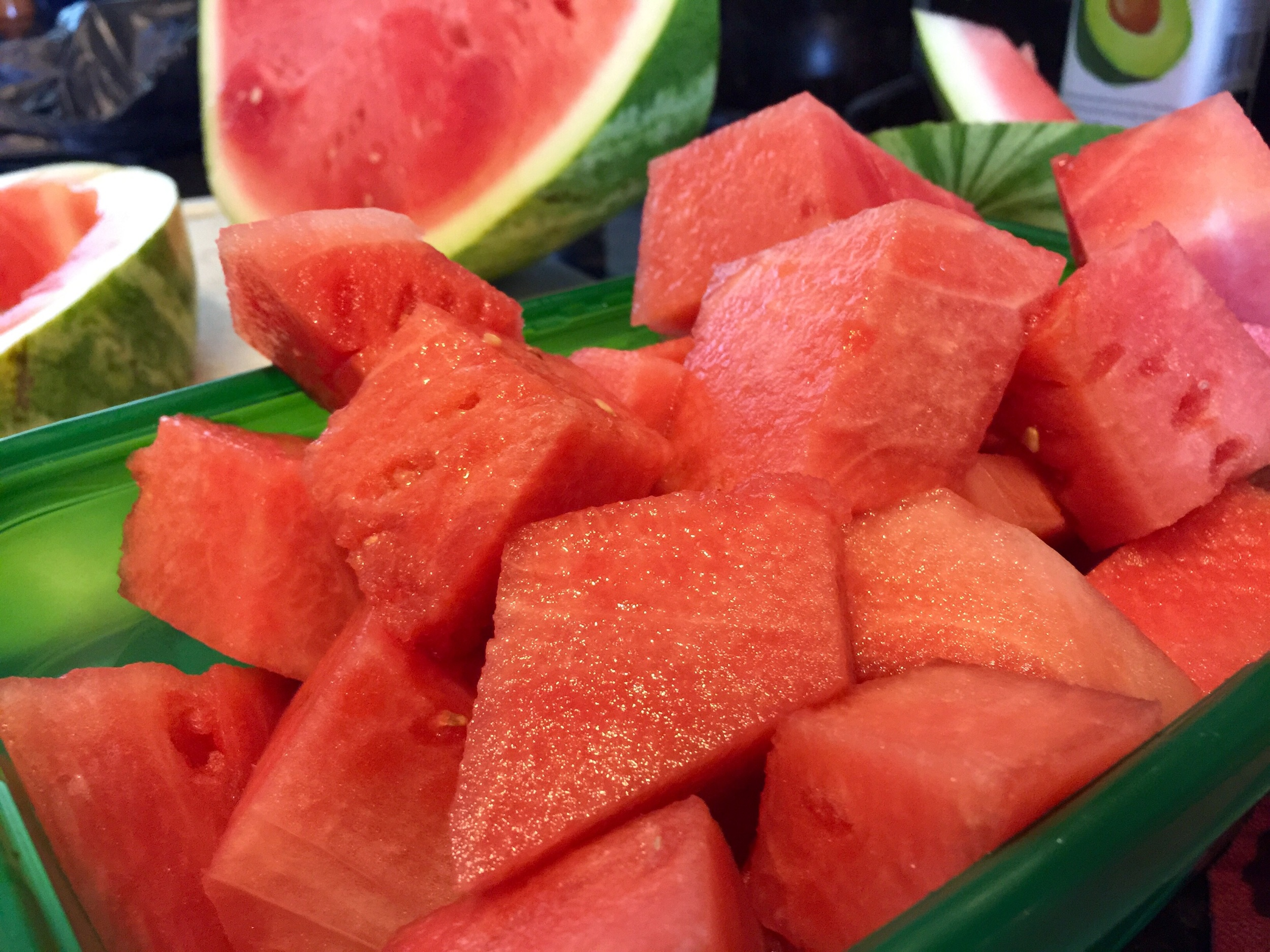 A whole watermelon is a lot in my house so after filling the ice trays I had a few pieces leftover to enjoy later.