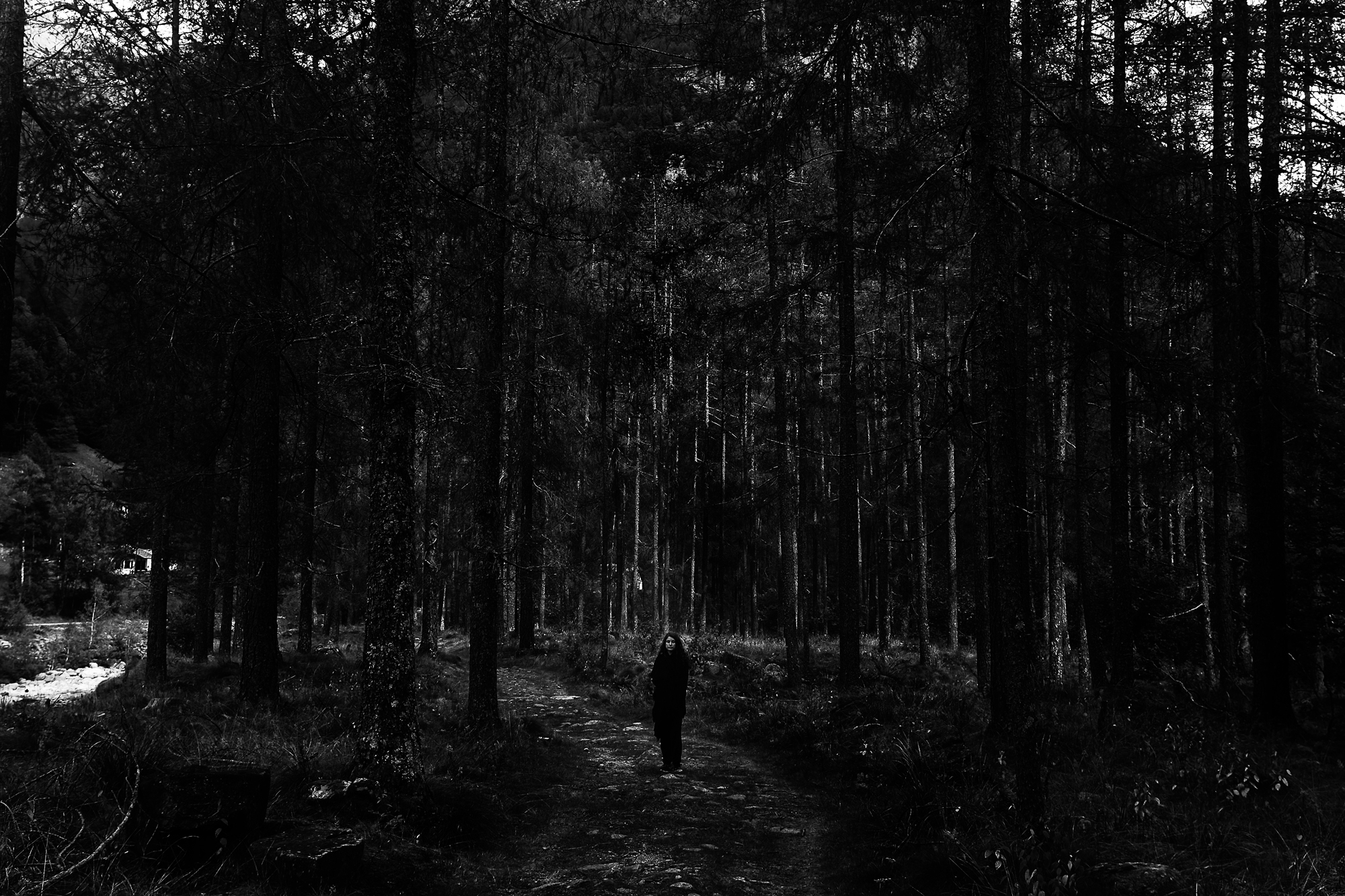 Photographer Lara Gasparotto (Belgium) in the woods of Sonogno.  (photo Christophe de Béthune, Belgium)