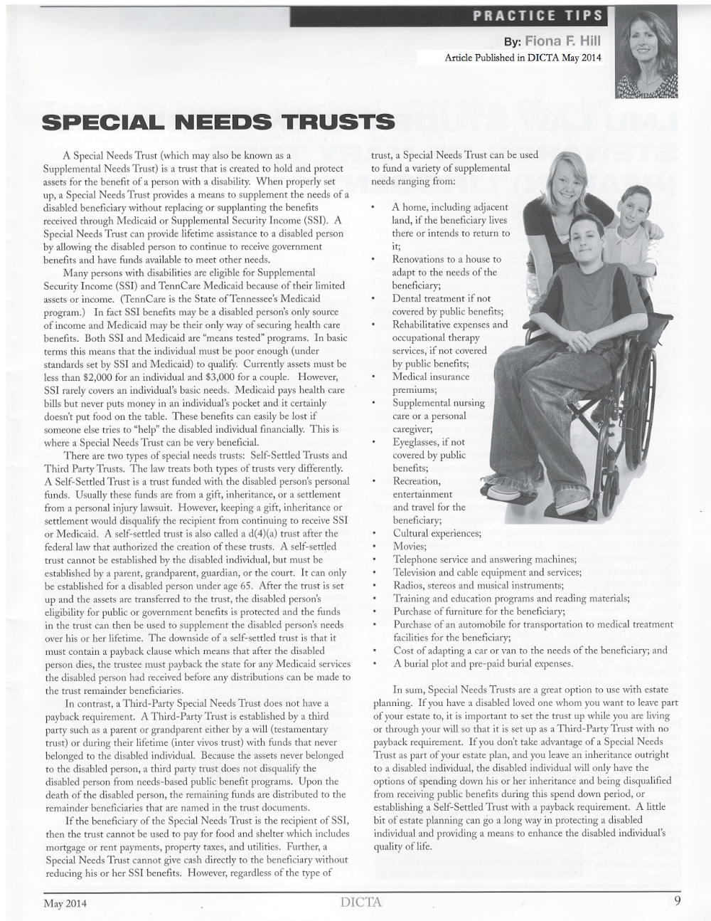 Attorney Fiona Hill speaks about Special Need Trusts