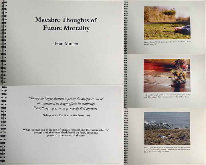 """Macabre Thoughts Of Future Mortality (2005) - """"Society no longer observes a pause: the disappearance of an individual no longer affects its continuity. Everything…goes on as if nobody died anymore"""" Philippe Aries. The hour of our death. 1981Macabre thoughts of Future Mortality is a collection of images representing 15 chosen subjects' thoughts of their own death based on fears, emotions, personal experiences, or dreams.OUT OF PRINT"""
