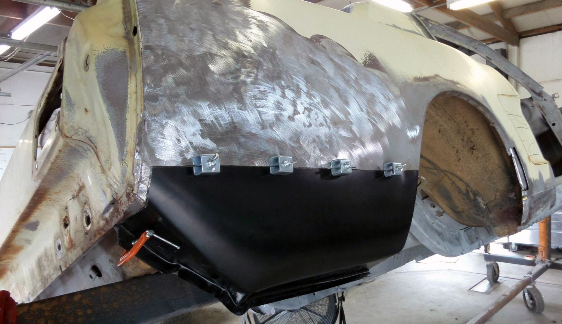 1966 Mustang 1/4 panel rust repair - before