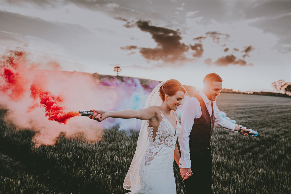 Smoke bomb bride and groom