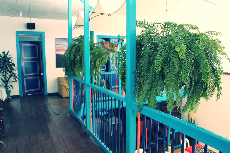 view of Casabuena's colourful balcony