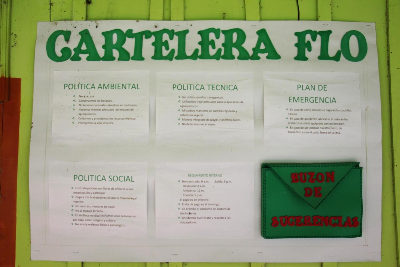Fairtrade poster at Finca la Isla