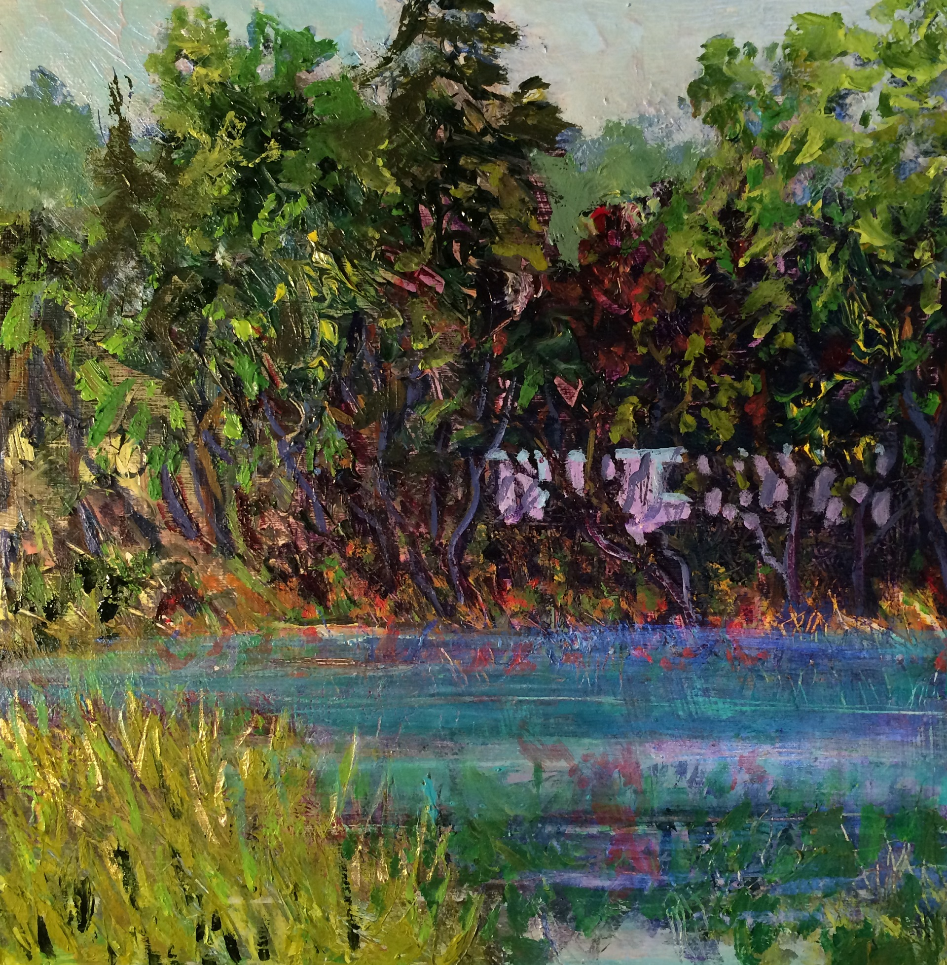 Lakeside Cottage W.E.Shumway acrylic on panel 12 x 12w inches 225.00.JPG
