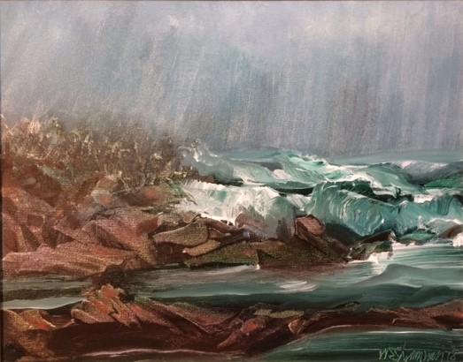 Coastal Storm W.E.Shumway acrylic 16 x 20(w) inches 450..JPG