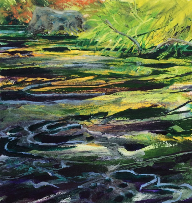 Metolius & Canyon Creek convergence VI W.E.Shumway acrylic 10 X10.5(h)inches 475.00.JPG