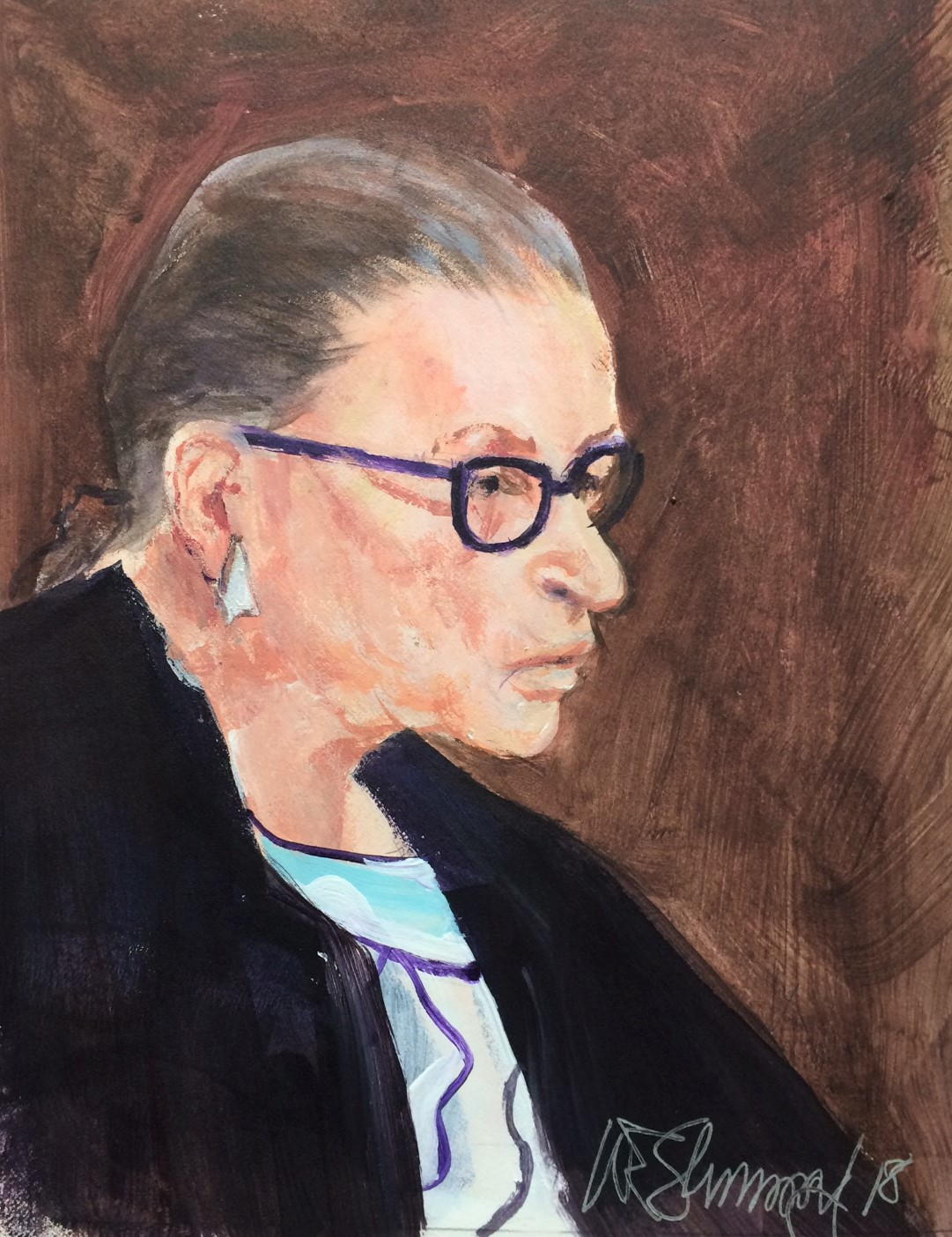 Ruth Bader Ginsburg by W.E.Shumway acrylic 7.5 X 9.5 inches 175.00.JPG
