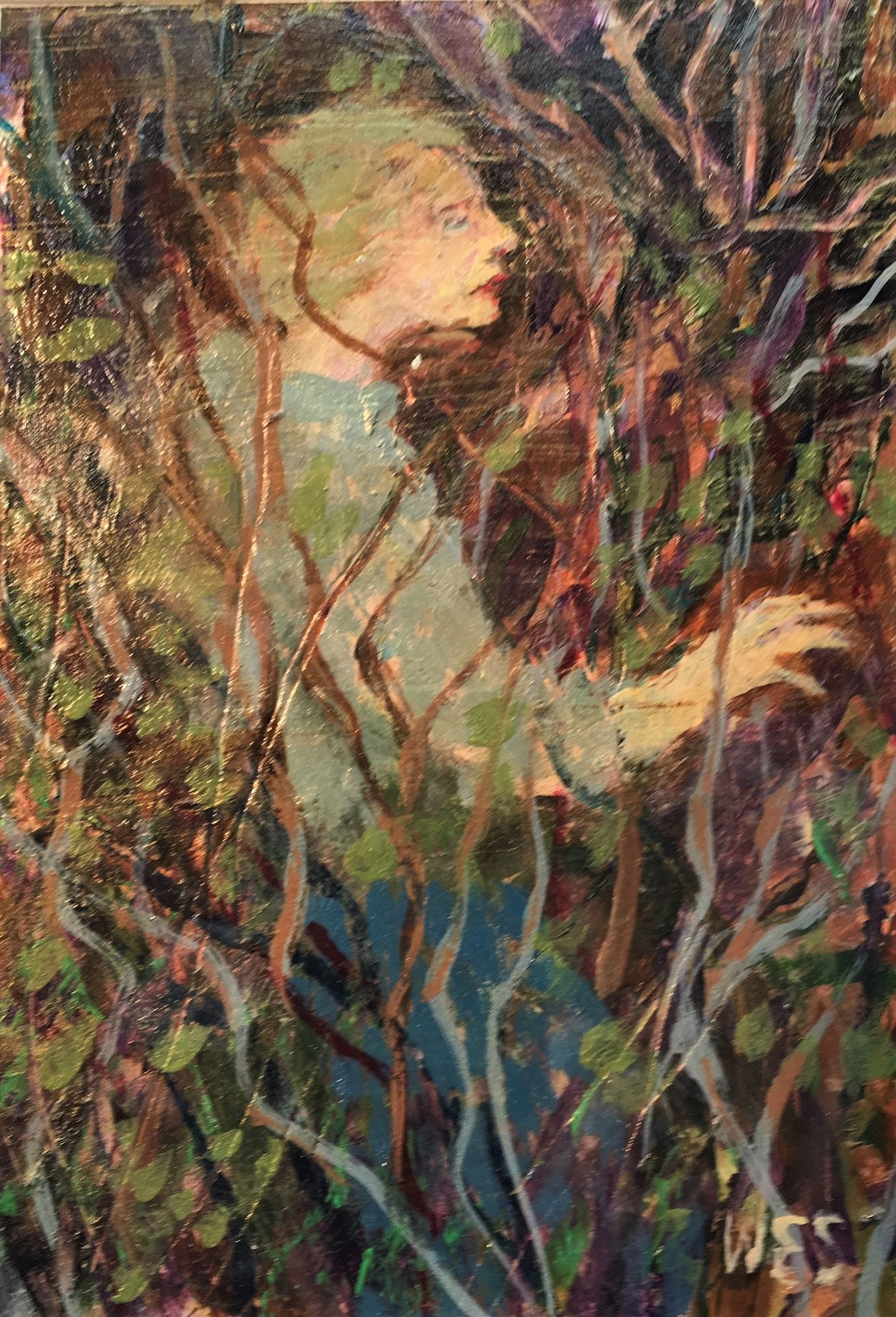 Walking in the Woods ( from poetry by Susan Shumway) acrylic 4 X 6 inches.JPG