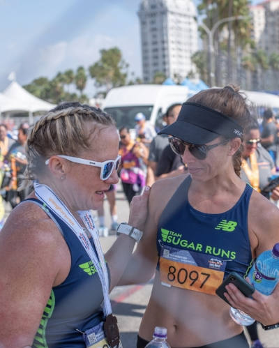 Dawn and I chatting post-race.