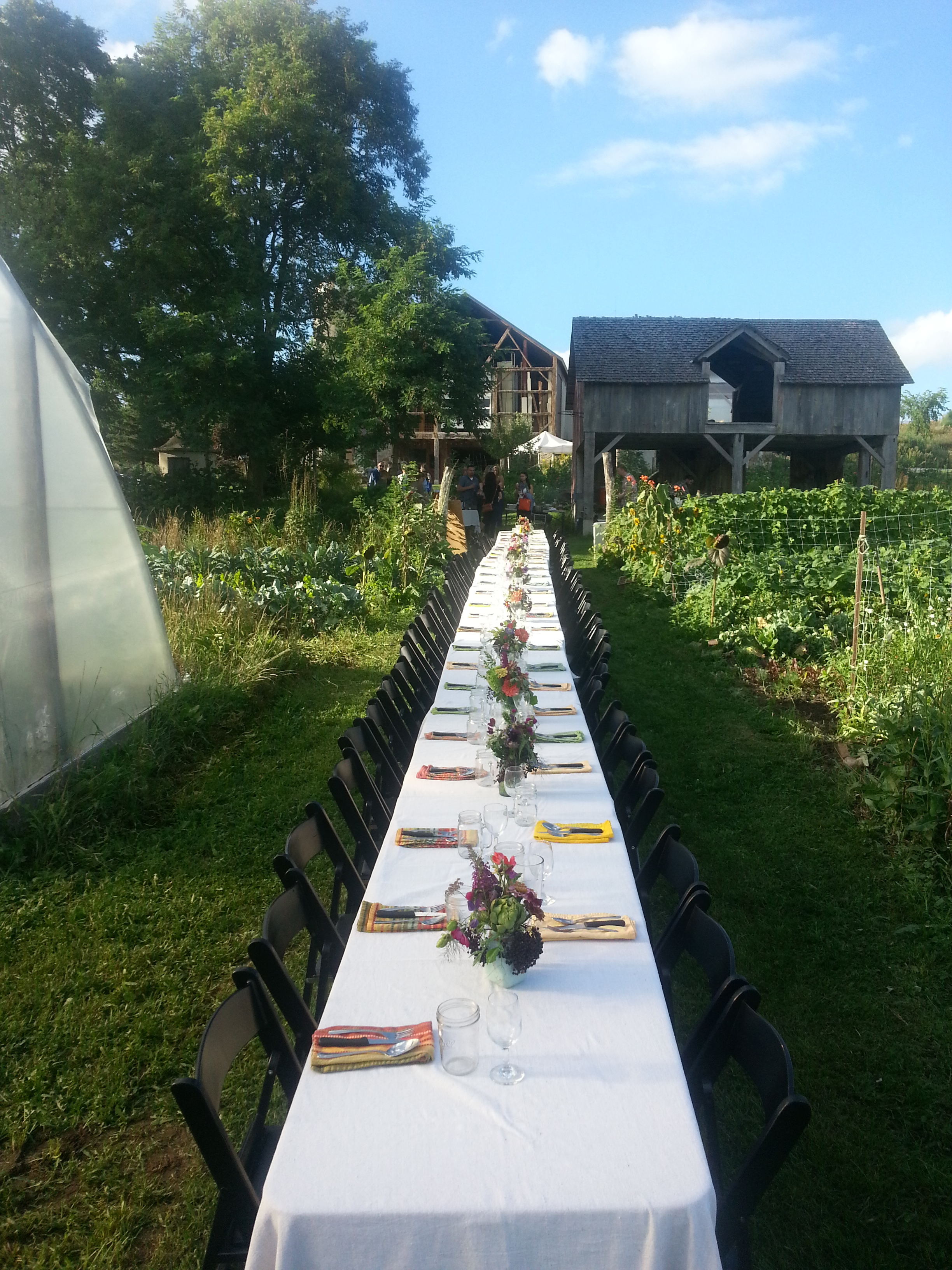 Dinner in our Garden Setting flowers by and grown by Willoway Farm. (Braise Restaurant of Milwaukee brought all the lovely tables, chairs, linens , glasses and silverware)