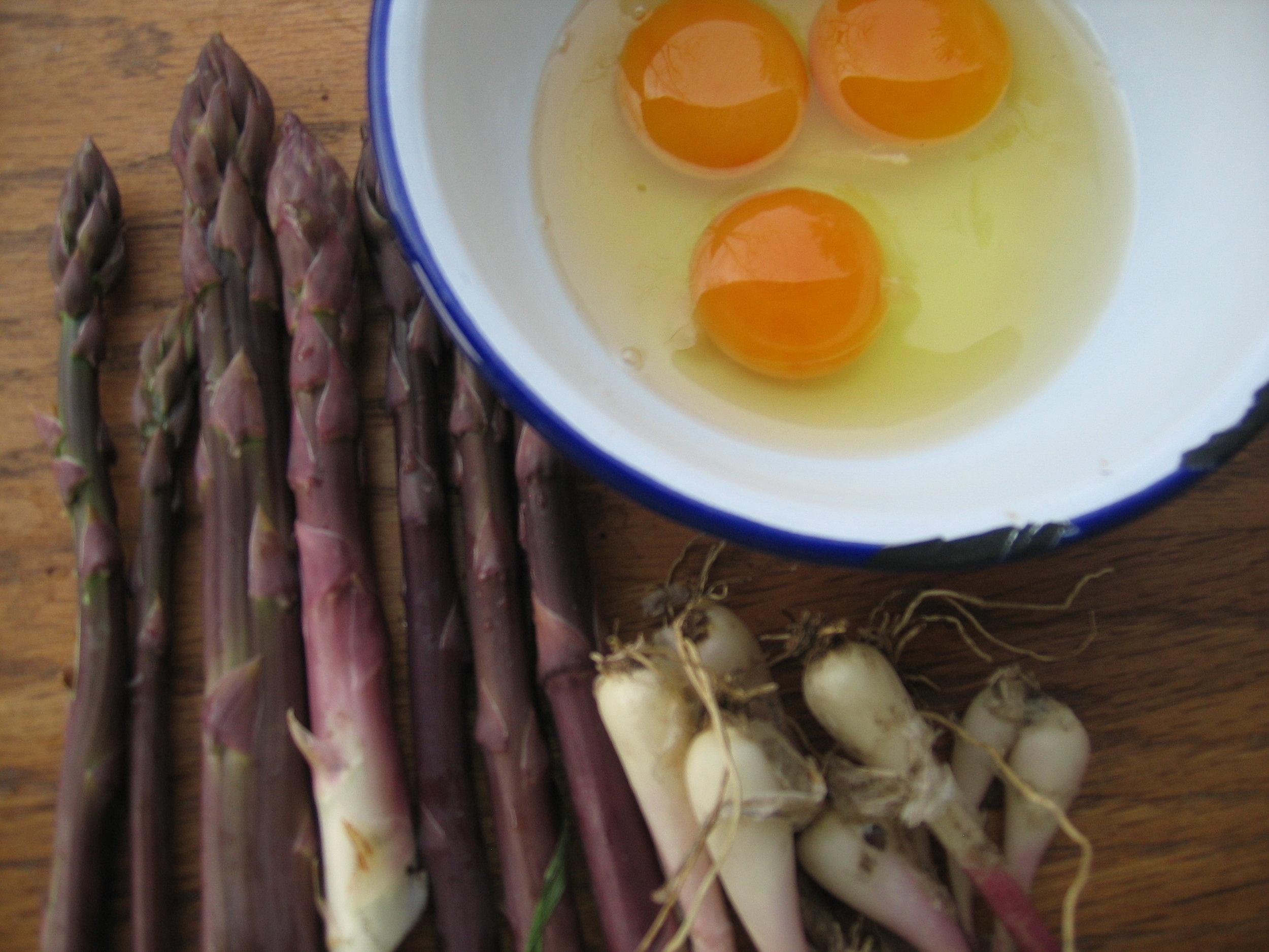 Purple Asparagus, Wild Leeks, Our Egg