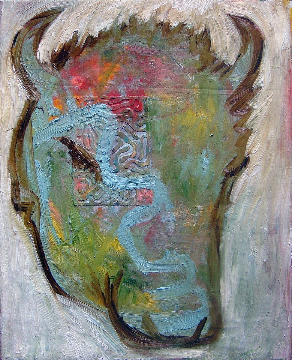 "Minotaur  Oil on postcard and canvas  16"" x 20""   $225"