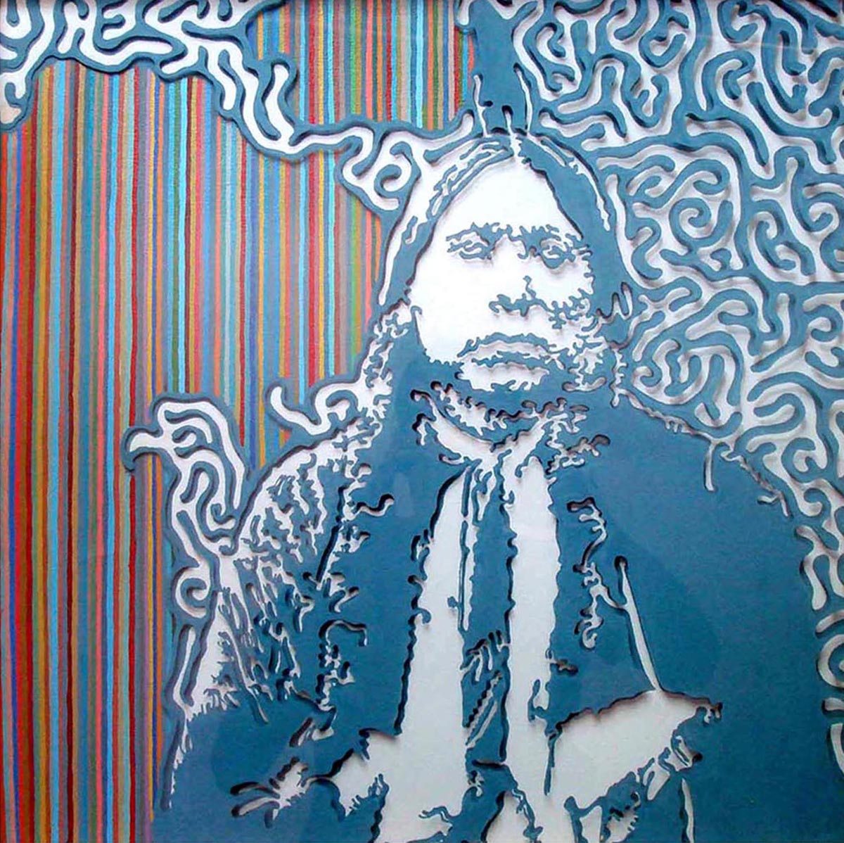 """Quanah  Acrylic on plexiglass and canvas  22"""" x 22""""   SOLD"""
