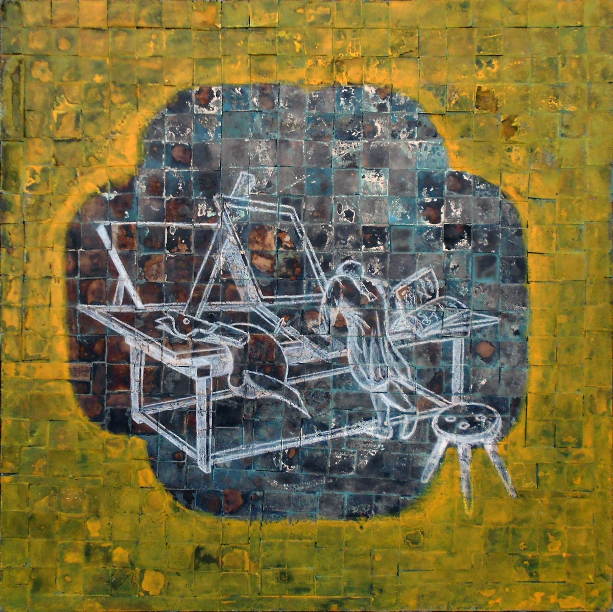 """The Apprentice  Mixed media on canvas  34"""" x 34""""   $550"""