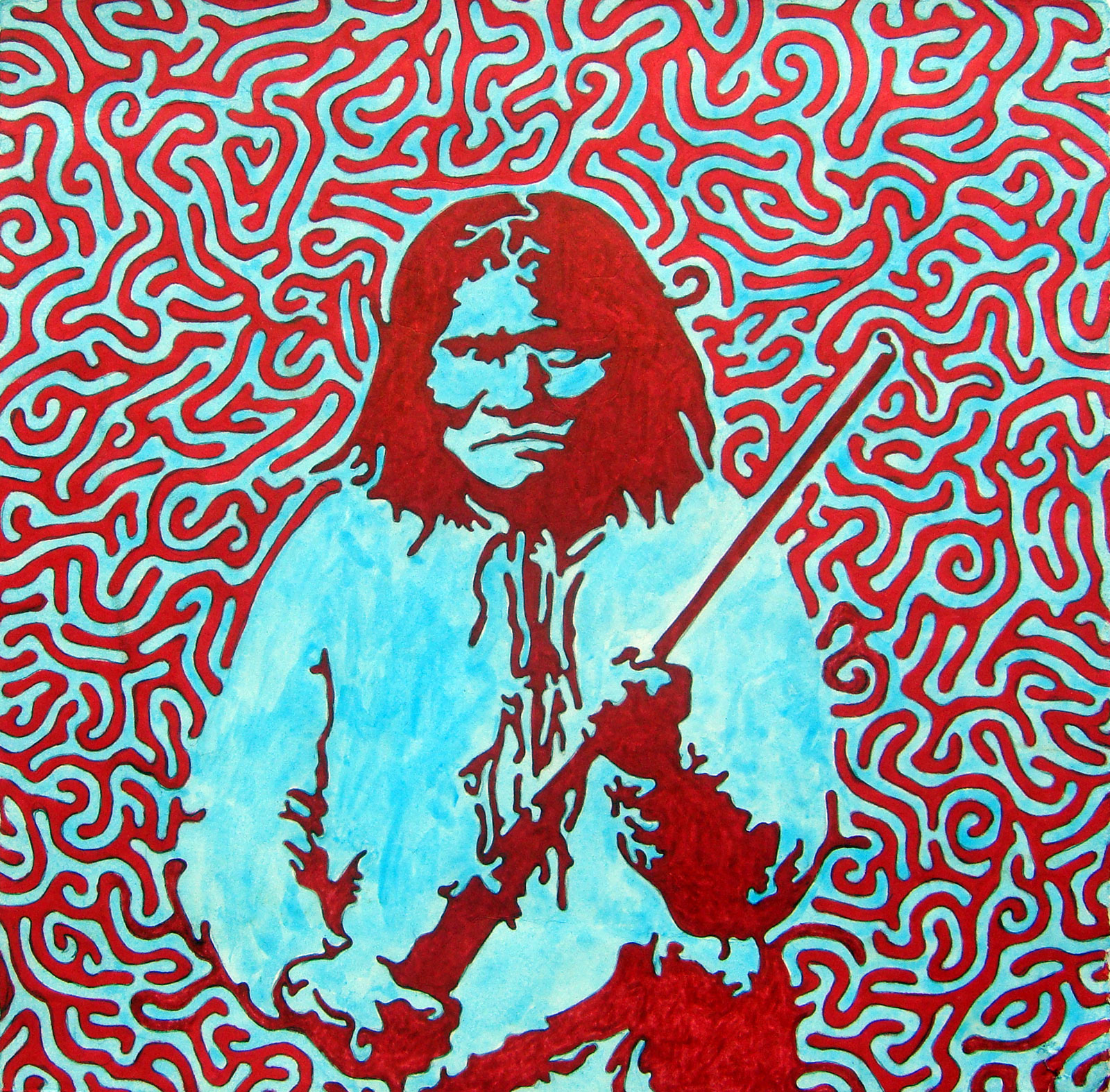 """Geronimo  Sharpie and watercolor on paper  11"""" x 11""""   $150"""