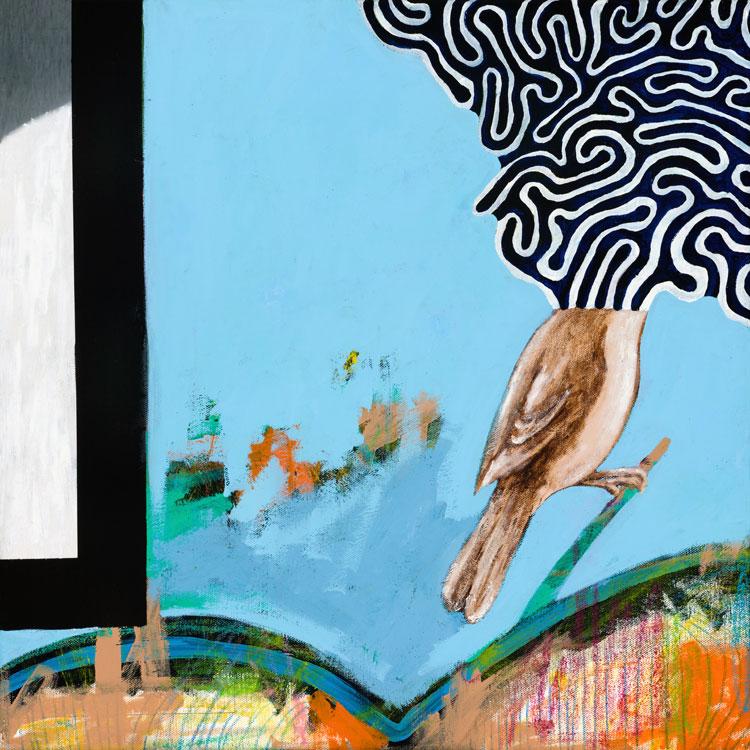 """Bird Song  Oil and acrylic on canvas  18"""" x 18""""   $225"""