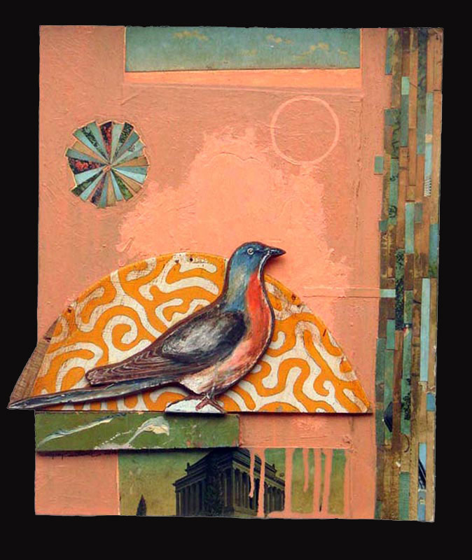 """Passenger  Oil and postcards on wood  12.25"""" x 15.25""""   SOLD"""