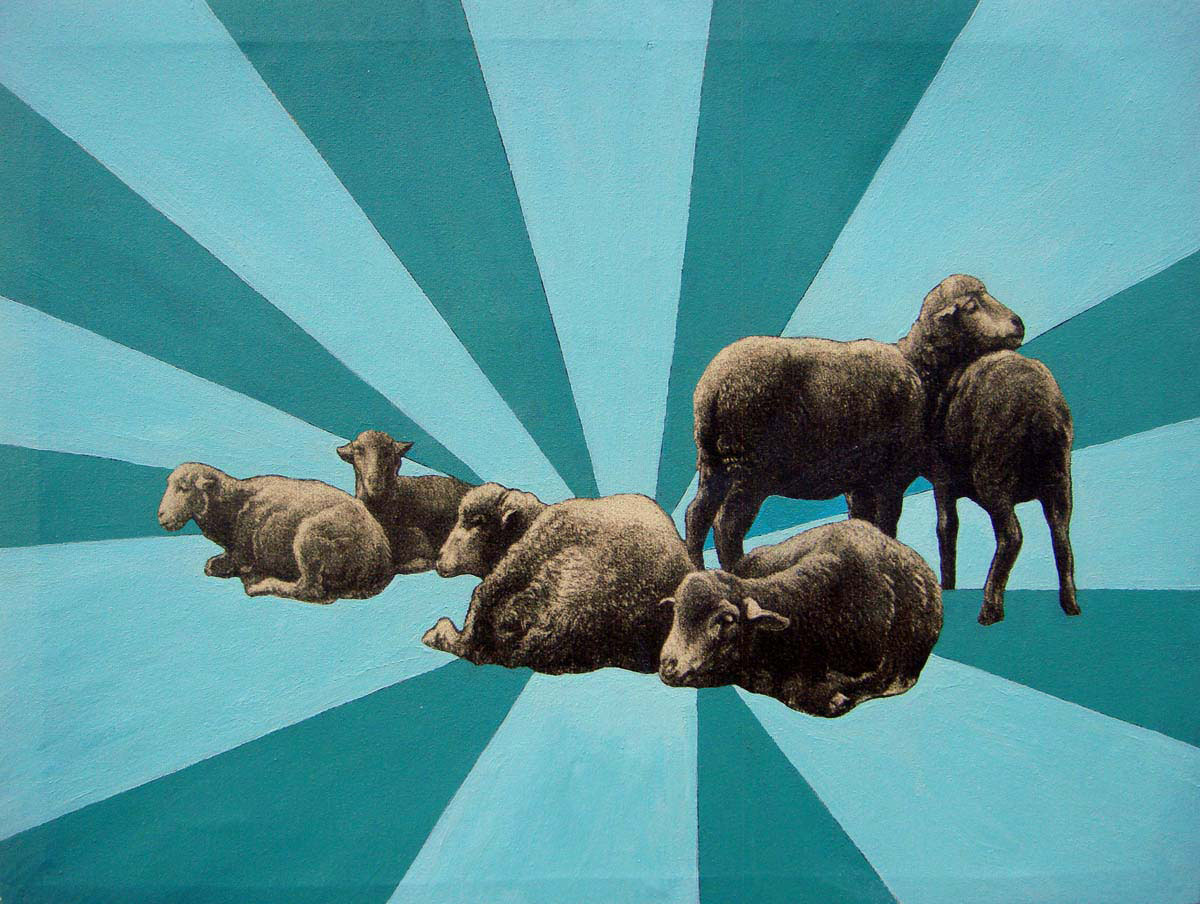 """Super Sheep  Acrylic on printed canvas  14"""" x 18""""   SOLD"""