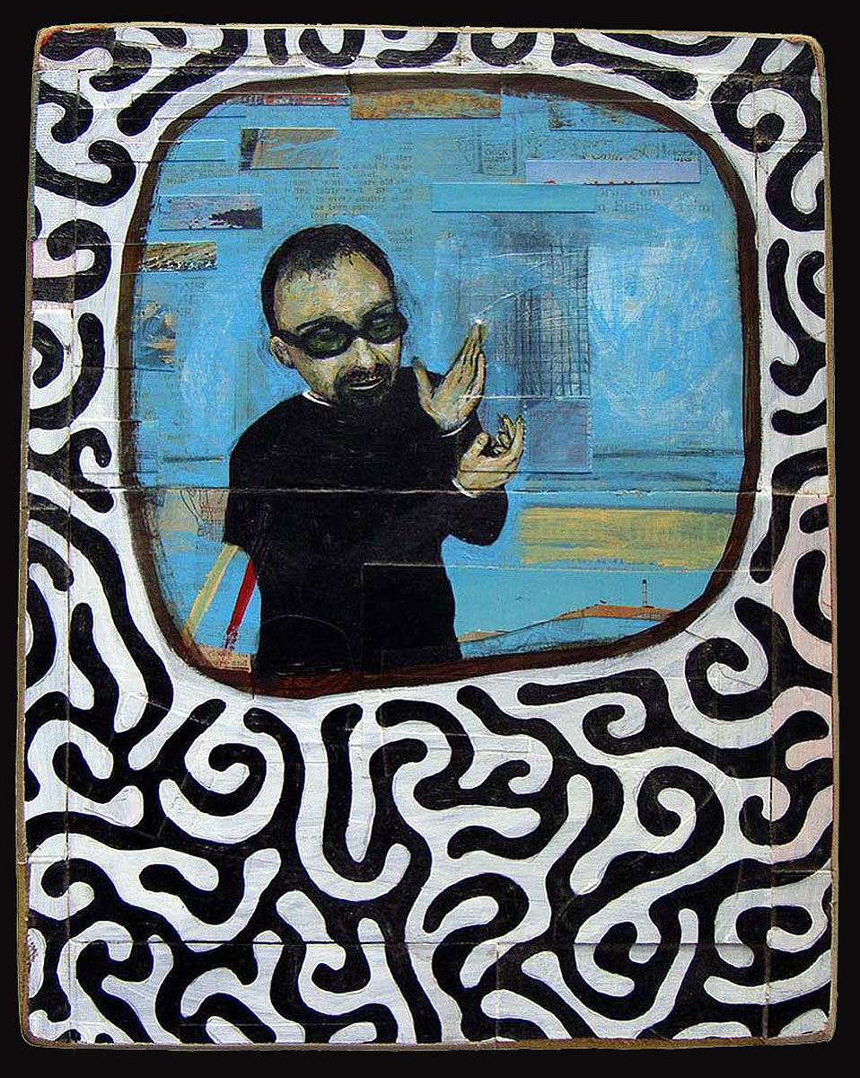 """The Poet Reciting His Latest Work  Oil and postcards on wood  11"""" x 14""""   NFS"""