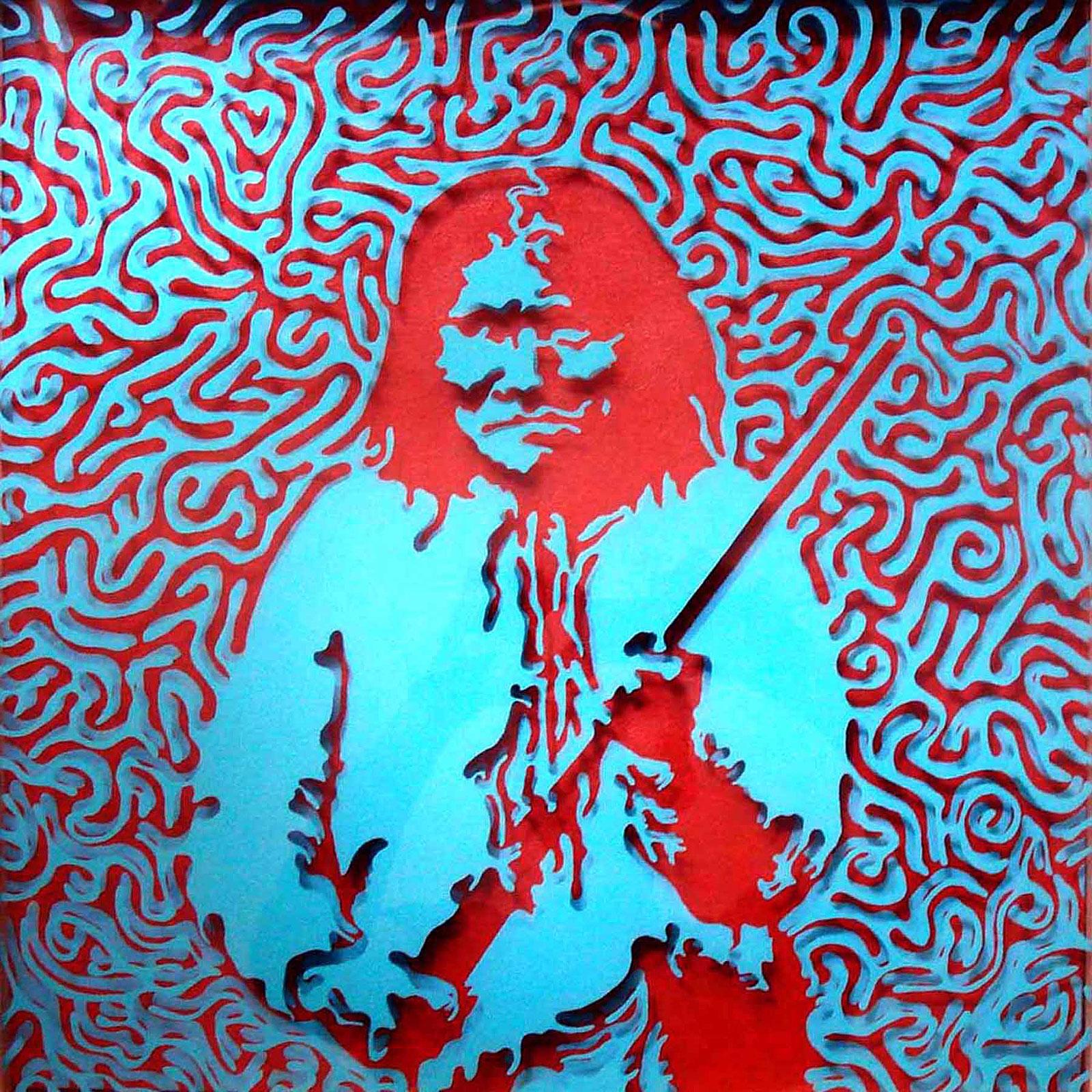 "Geronimo  Acrylic on plexiglass and canvas  22"" x 22""   SOLD"