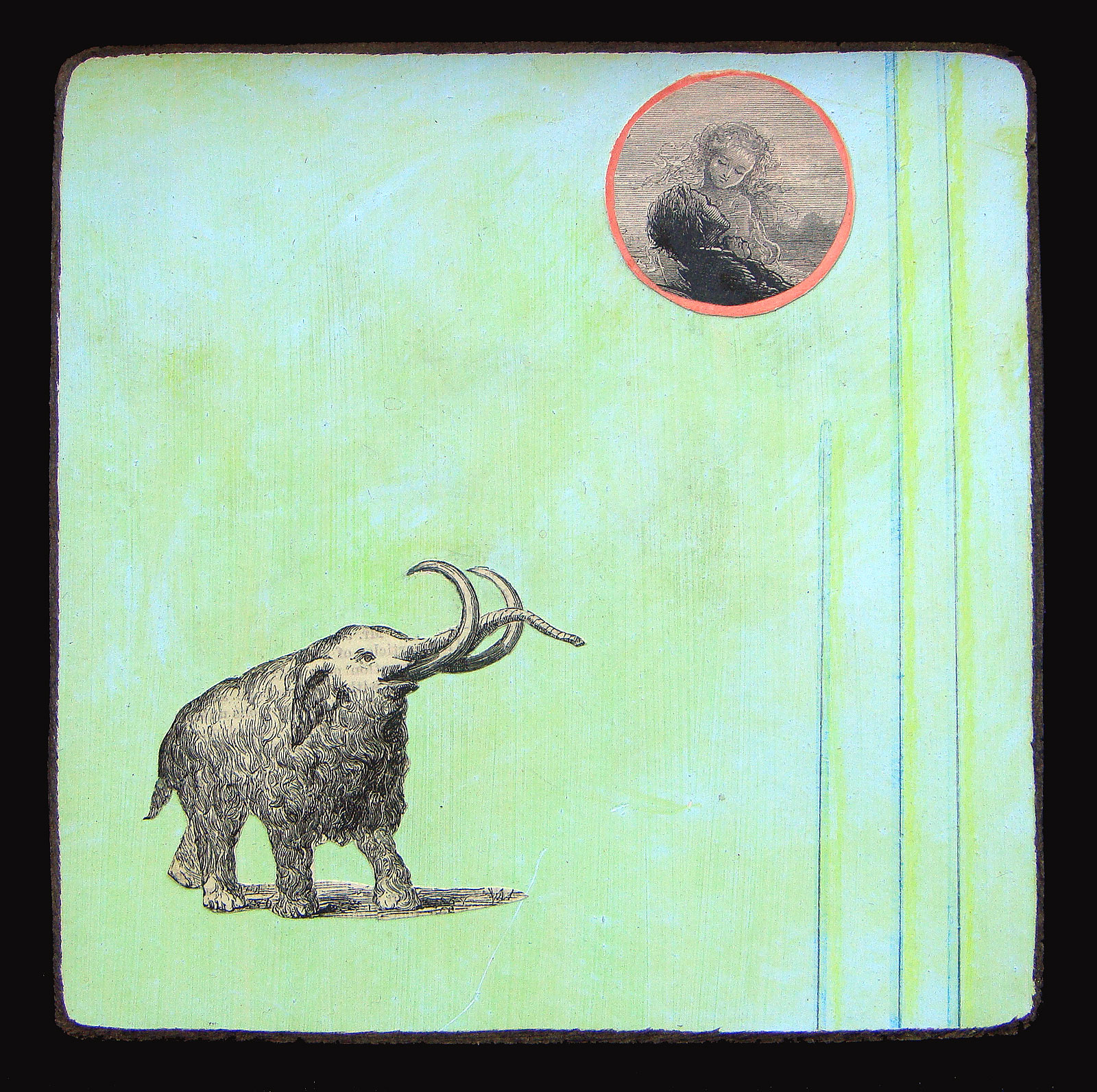 """Mammoth Love  Oil and paper on wood  8"""" x 8""""   $125"""