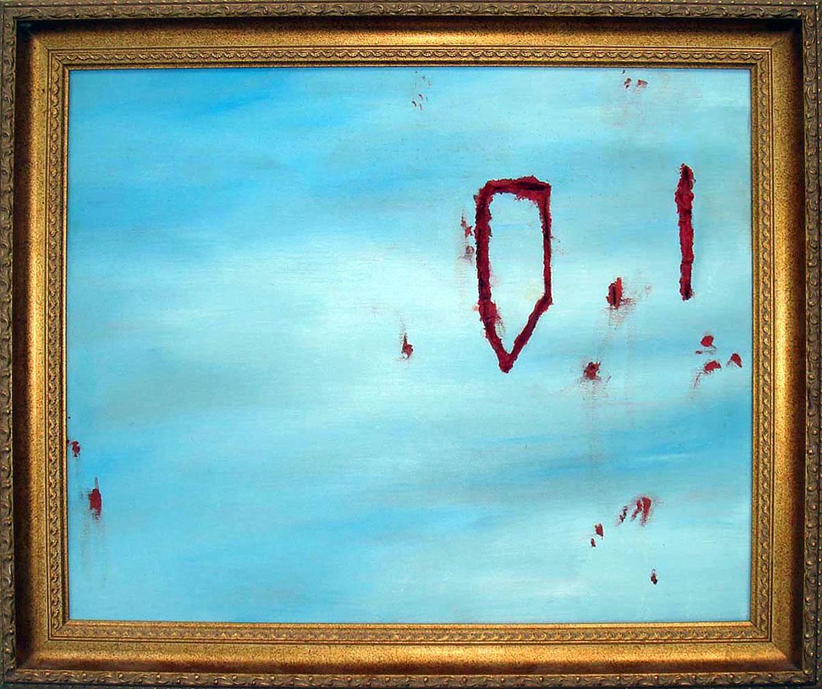 "Sky Surgery  Oil on canvas and polyurethane foam with frame  13.75"" x 18.5""   NFS"