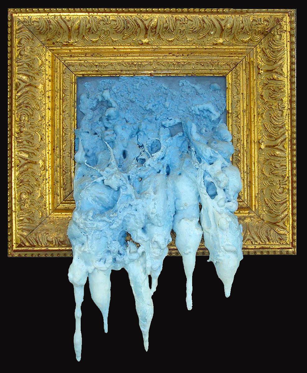 "Sky Sludge  Oil on polyurethane foam with frame  14.75"" x 17.75"" x 2.5""   NFS"