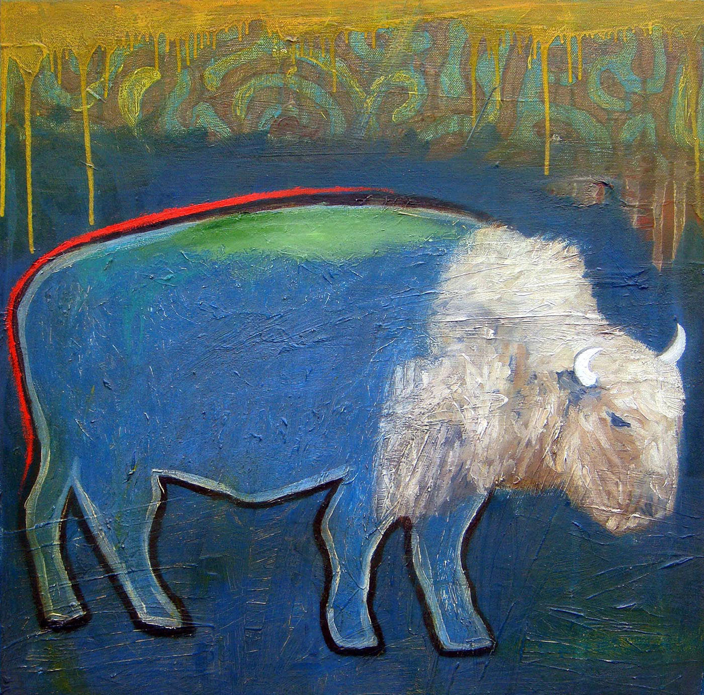 "White Buffalo  Oil on canvas  18"" x 18""   $250"