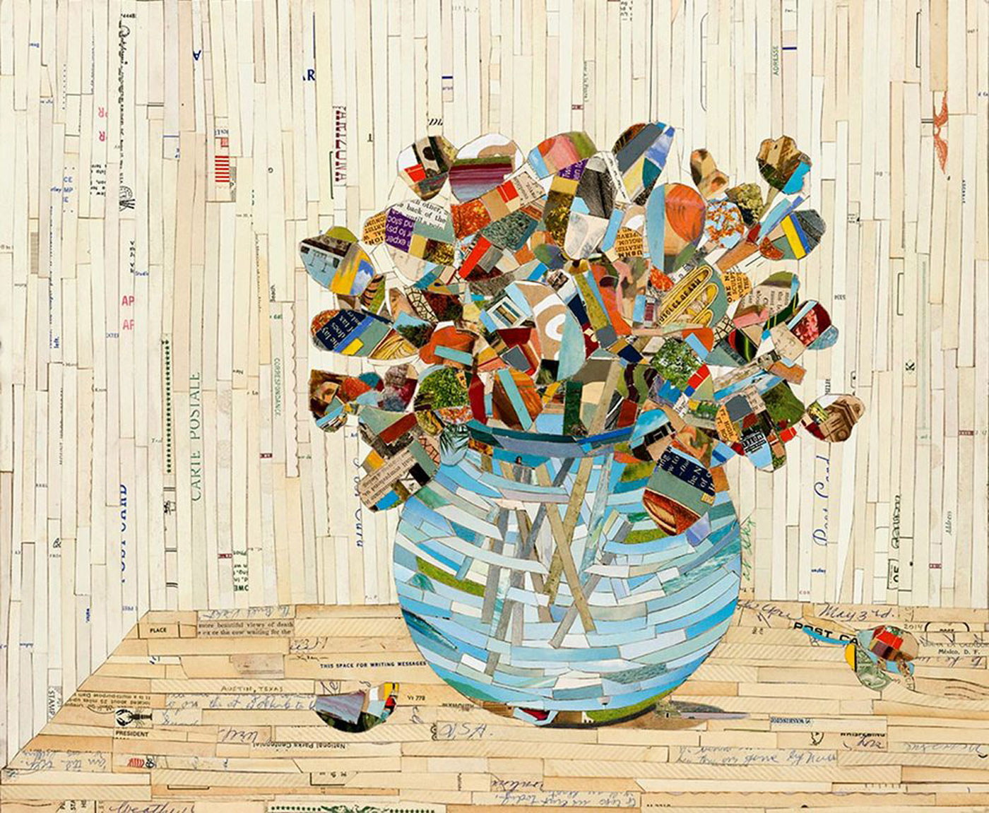 """Flowers in a Vase  Postcards on wood  13.5"""" x 15""""   SOLD"""
