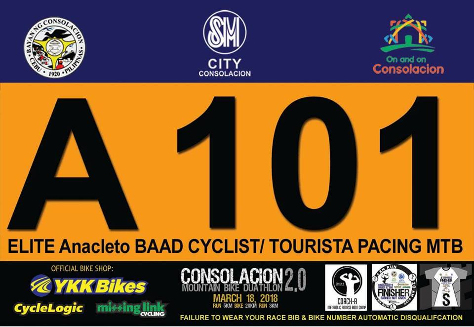 Claiming of Race bib is set on March 9 to 14 proceed to the respective bike shop you have registered, then for all online registrant at Cycle logic.   SM City Consolacion (Official)  for March 16 and 17 at 2 to 7pm and race day 18th 4am.