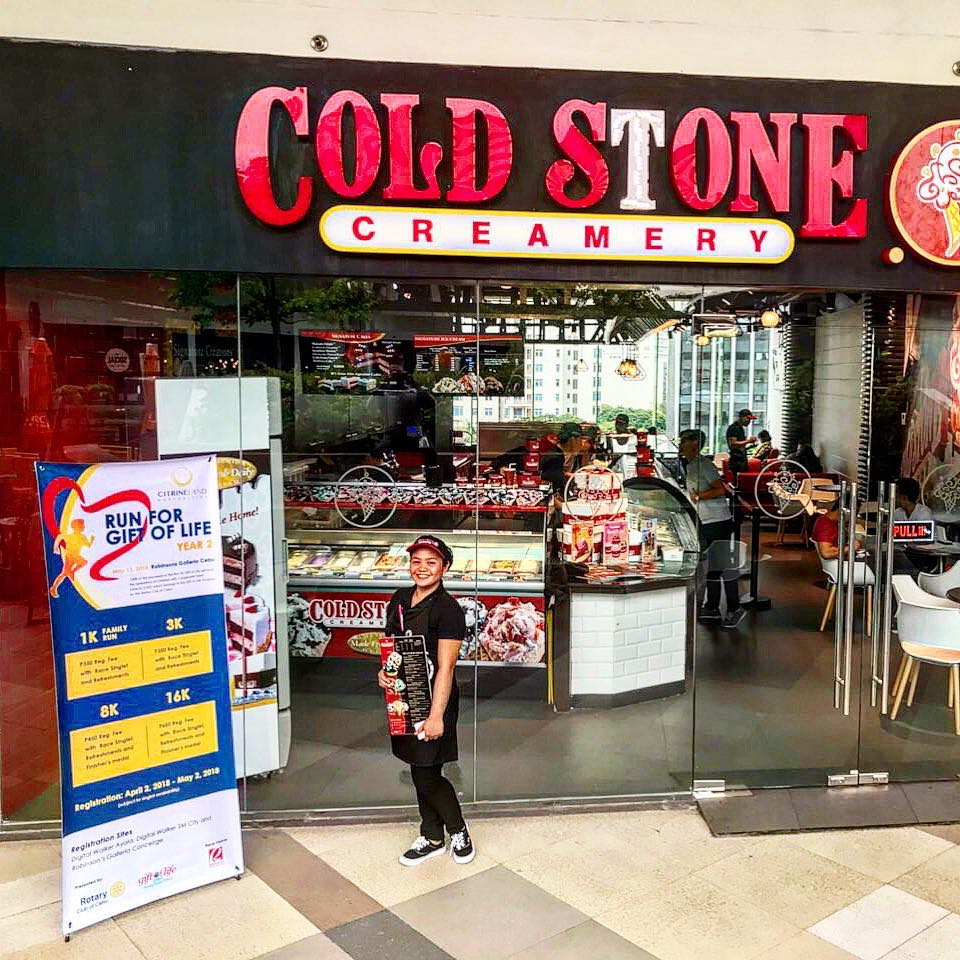 Cold StoneCreamery Cebu - we give back where we can. Register for the #RunForGiftOfLifeat #ColdStoneCebuto help give an indigent child with congenital heart disease a second lease in life. See you on May 13!