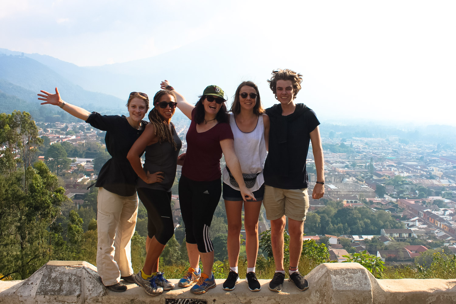 Hanging out with some new friends on an excursion to cerro del cruz in antigua, guatemala