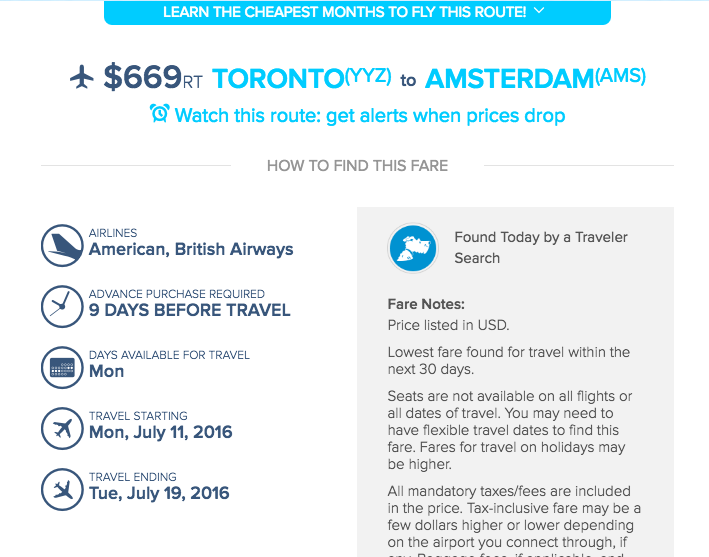 Airfare Watchdog flights toronto amsterdam