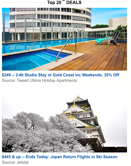 Example of deals from travelzoo newsletter