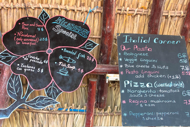 paradiso hostel menu