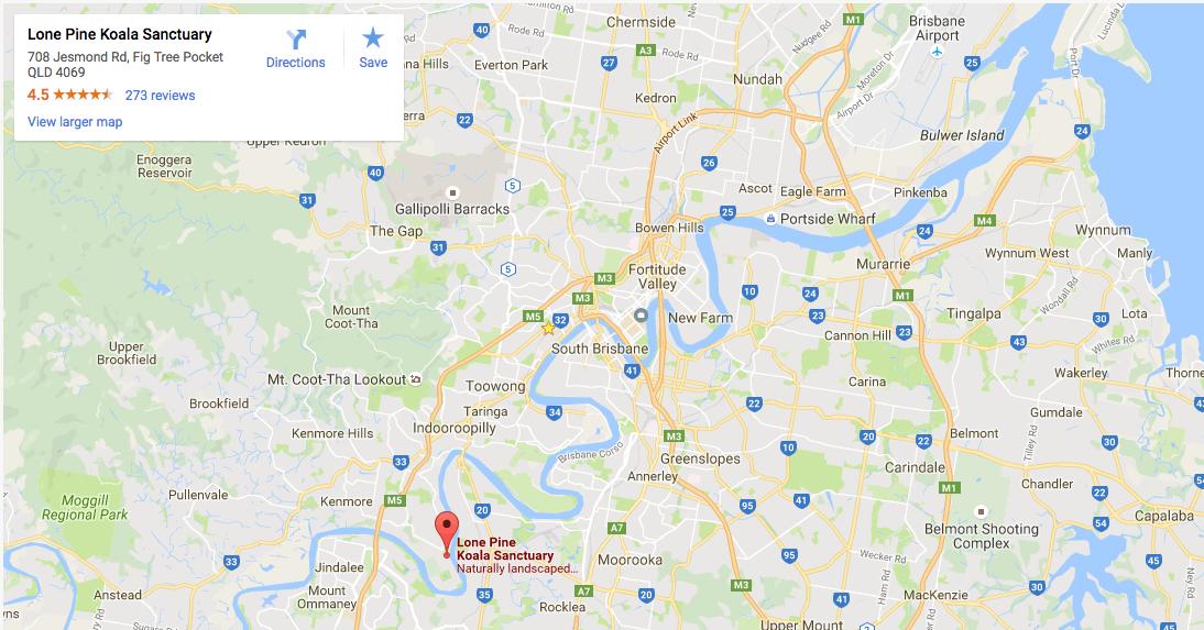 Lone Pine Koala Sanctuary Location Map