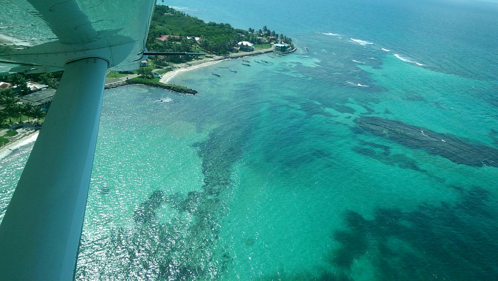 Flying towards Big Corn Island