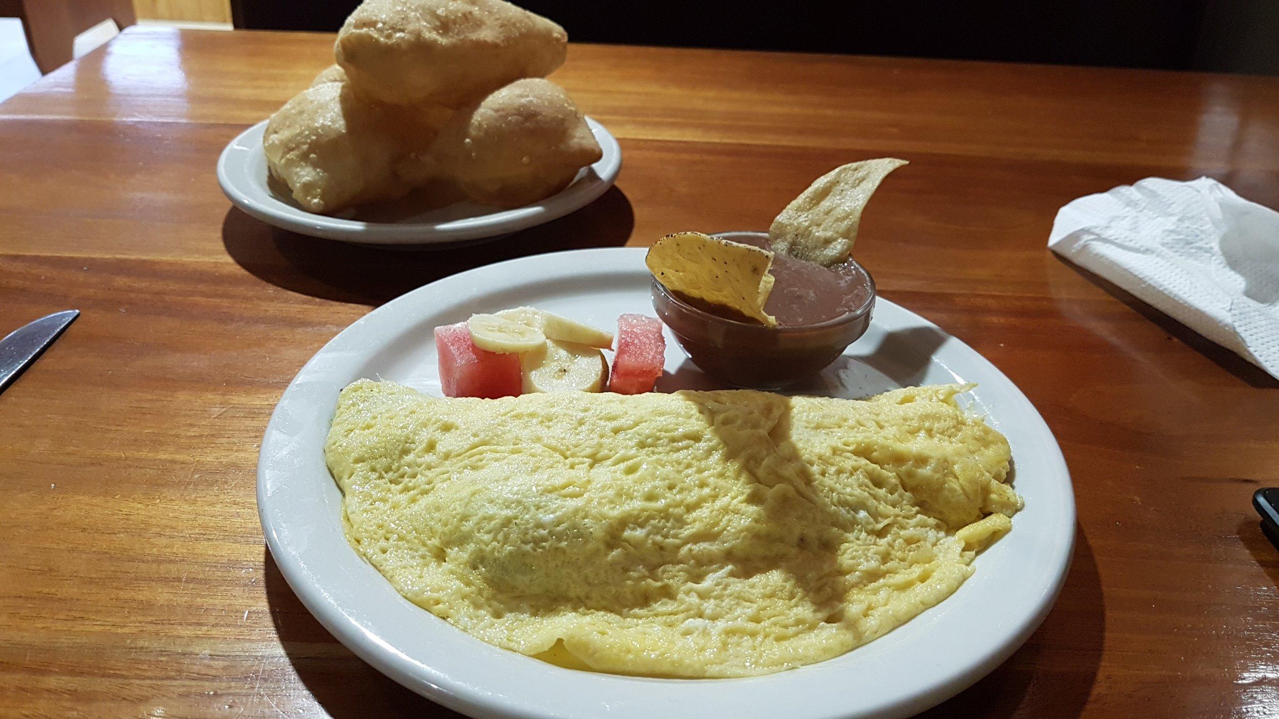 Breakfast in Belize with fry jacks