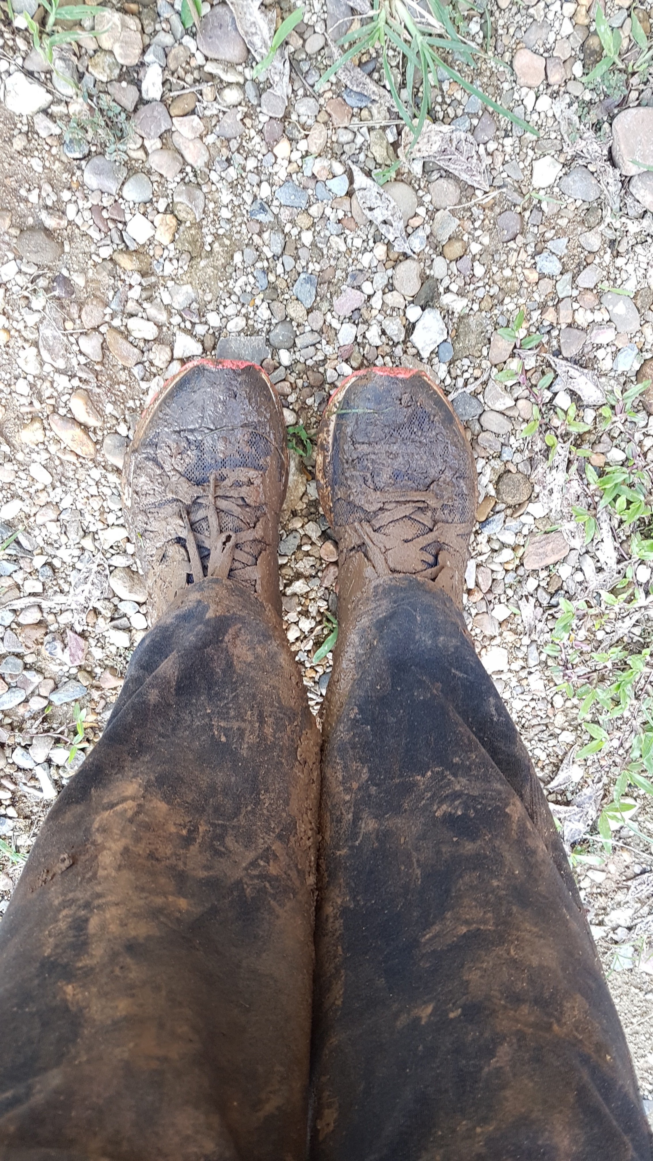 My legs and shoes after Crystal Cave
