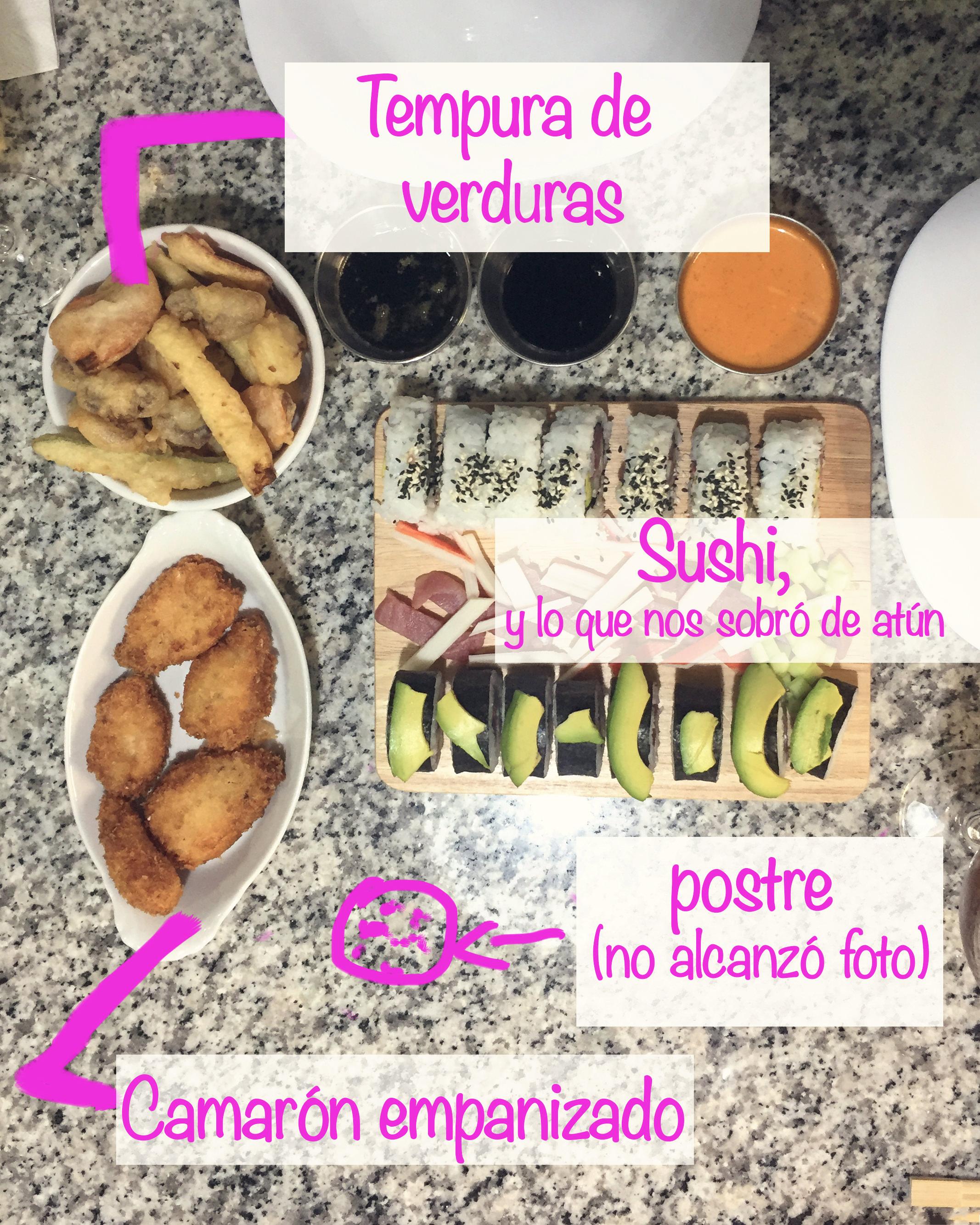 Para ser nuestro primer sushi la presentación nos quedó decente. La textura del tempura nos quedóbuenísima y crocante, y los camarones uffff (la verdad los camarones no son mi hit y el queso crema mmmñe, pero debo admitir que esta receta está riquísima).Para cuando tomé la foto aún el postre estaba refrigerándose; así que no alcancé a tomarle foto, pero debo presumir que estaba SA-BRO-SO