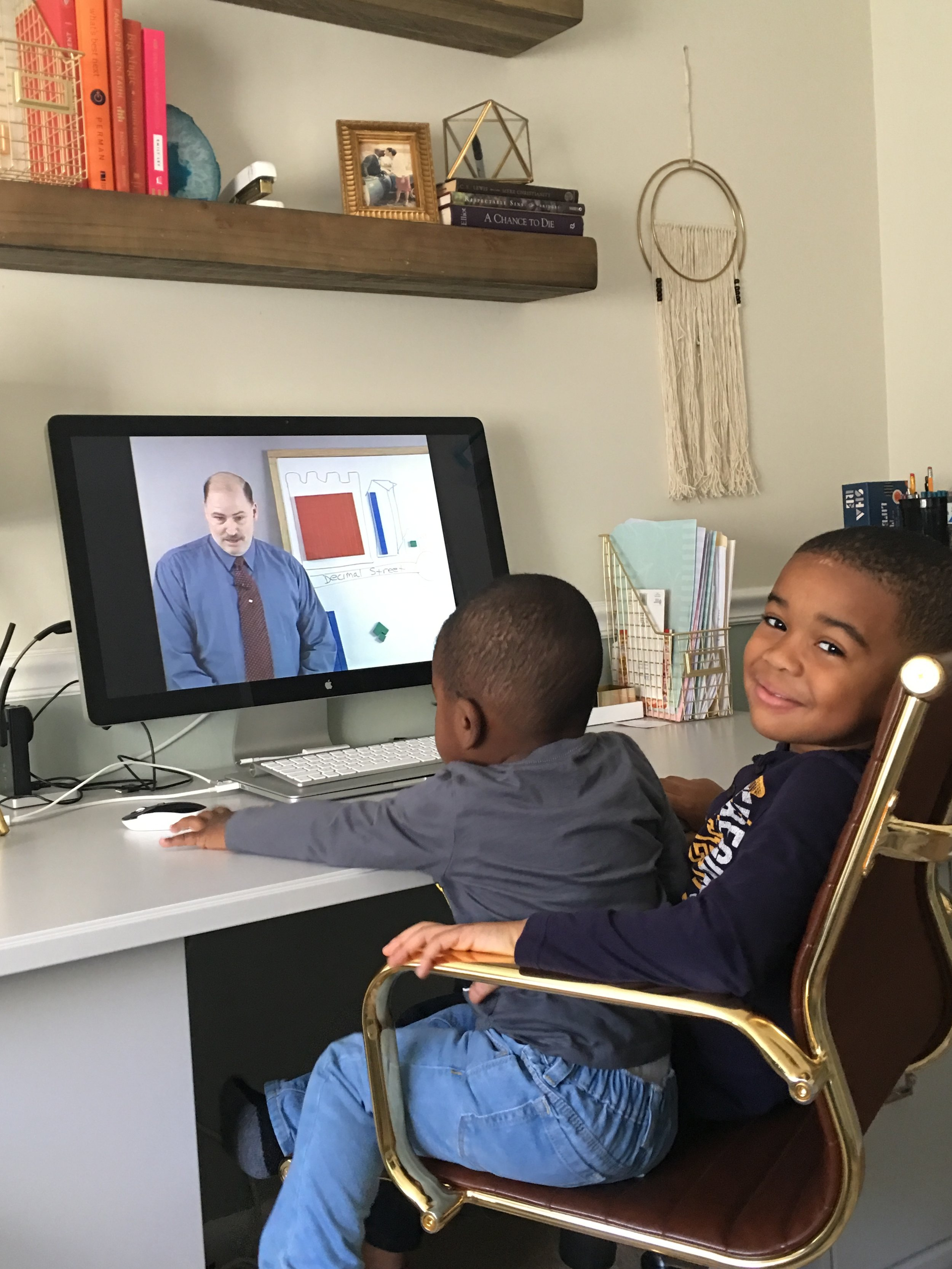 Math video lessons are among Lincoln's favorites