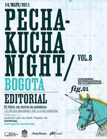 PechaKucha Editorial en Corferias. Diseño de Jorge Restrepo.