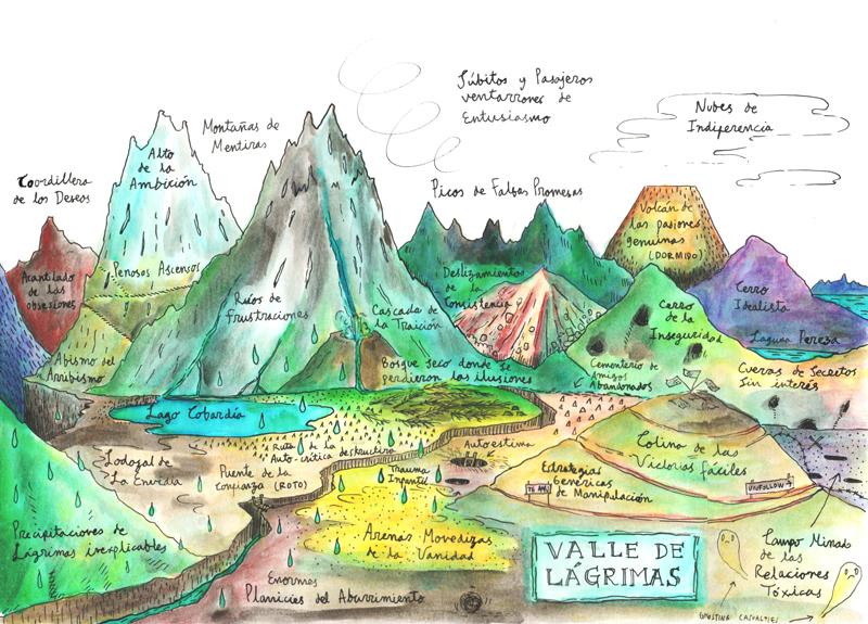 Paisajismo emocional: Valle de Lágrimas  - Tinta china y lápices acuarelables sobre papel, 2019