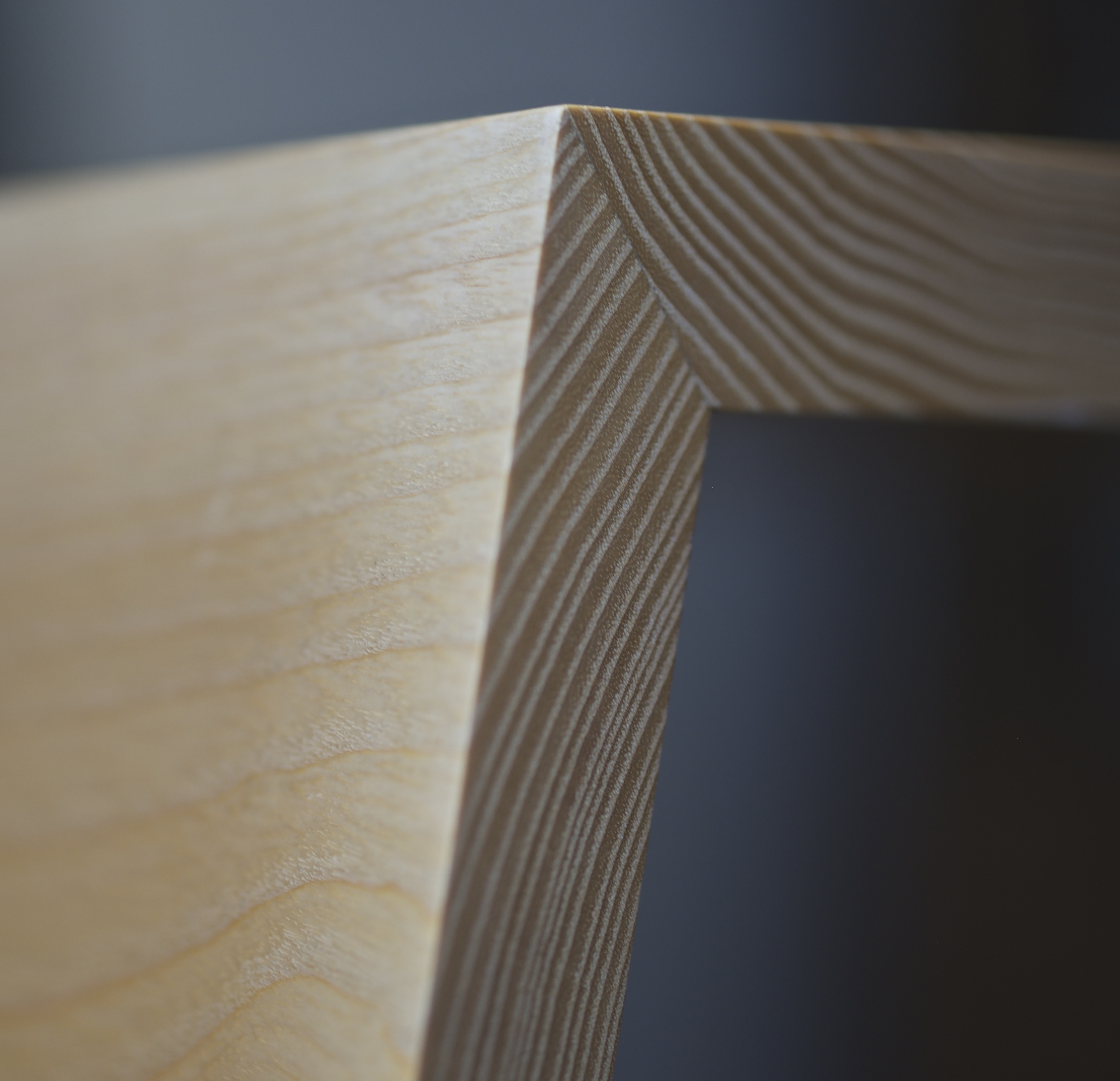 Origami Coffee Table - Mitre detail and close up of the crown cut grain.