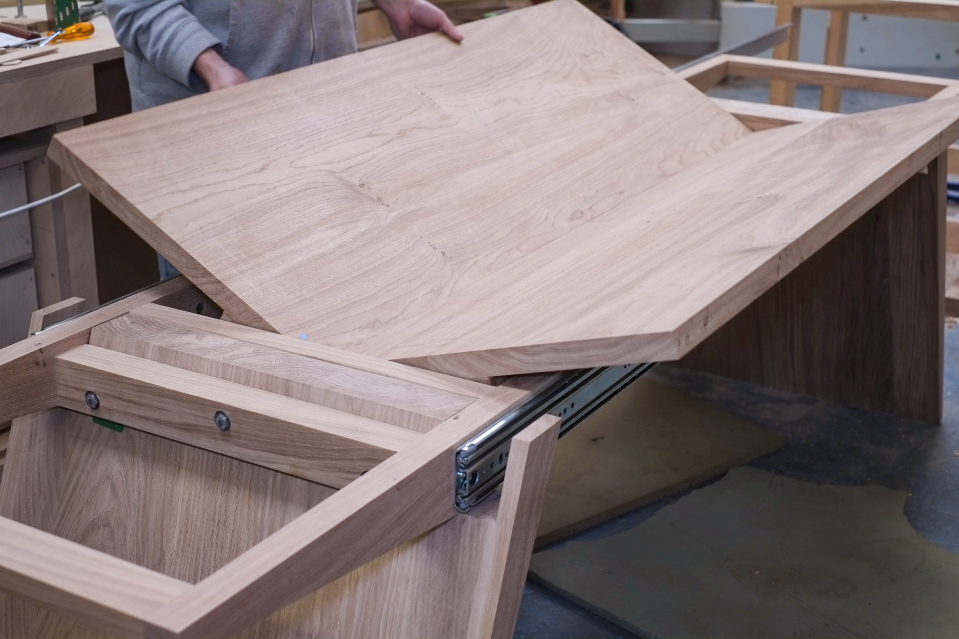 The fold out section of the dining table