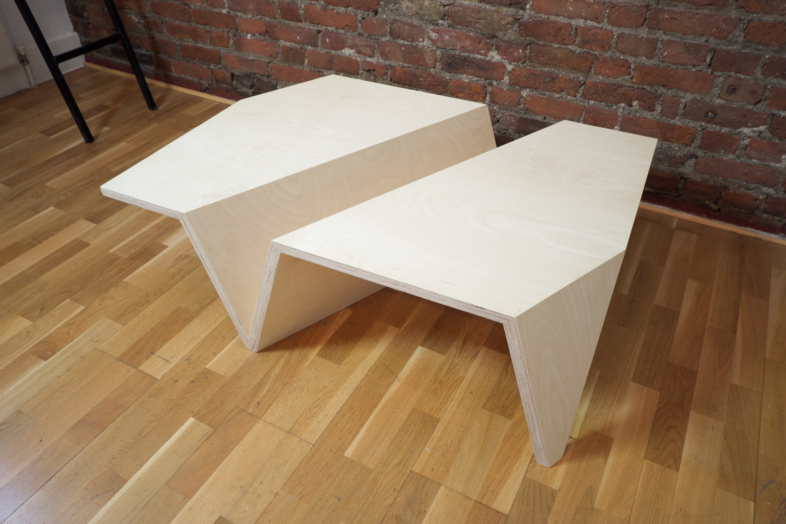 Origami Low Coffee Table in Beech Ply