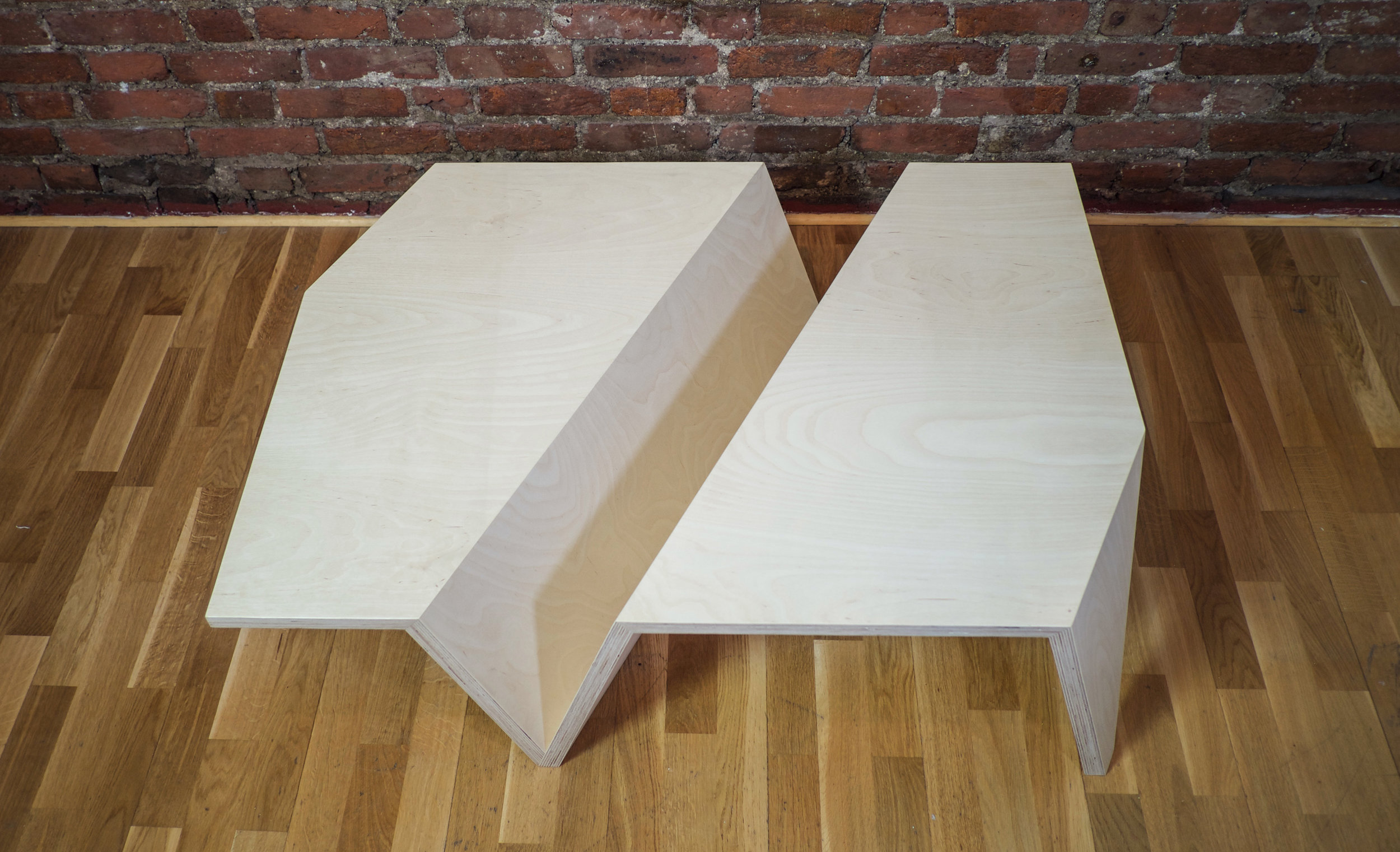 The Origami Low Coffee Table in Beech Ply - Top down view
