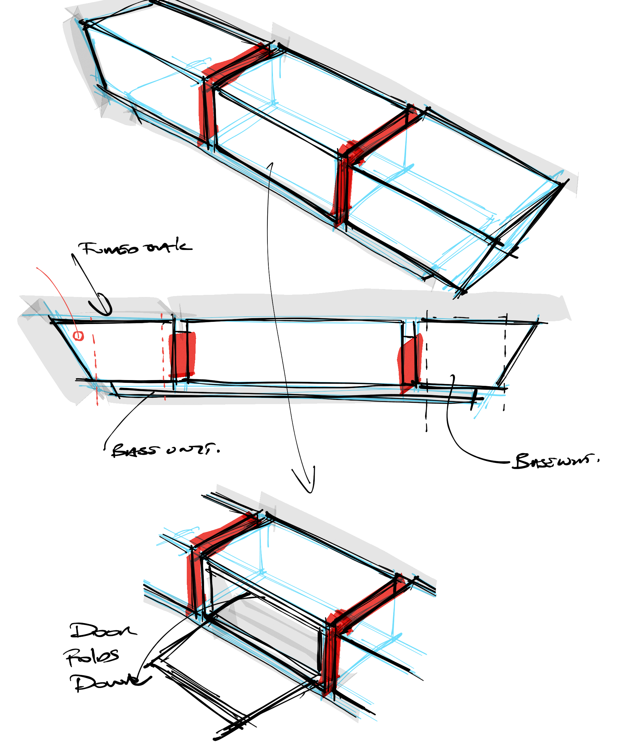 Initial sketches of the Basso AV Unit