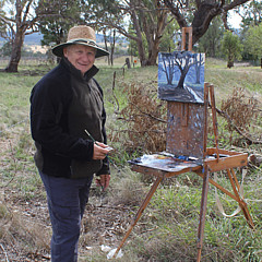 """John Rice - John is an energetic outdoor painter who works almost exclusively in oils and is stimulated by the strong light of the Australian landscape. He is particularly enthusiastic about the districts from the Blue Mountains to Mudgee in The Central West artistically. He enjoys painting the landscape from life, """"en plein air"""", and engages in regular painting trips to country locations. John lives in the village of Mulgoa on the western fringes of Sydney, providing a lot for an artist to digest both aesthetically and culturally as a central location for the Hawkesbury, Blue Mountains and Sydney.John has won many awards for his artworks and has held twelve very successful solo exhibitions and numerous joint exhibitions. He has works in private collections throughout Australia and abroad and is an exhibiting member of the Royal Art Society. John has almost forty years teaching experience and conducts regular workshops and demonstrations at his studio and for local art societies."""
